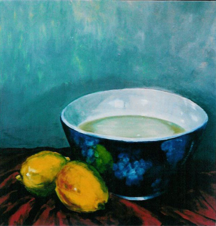 Chinese Kom met citroenen, olieverf op canvas, 50 x 60 cm, 2003