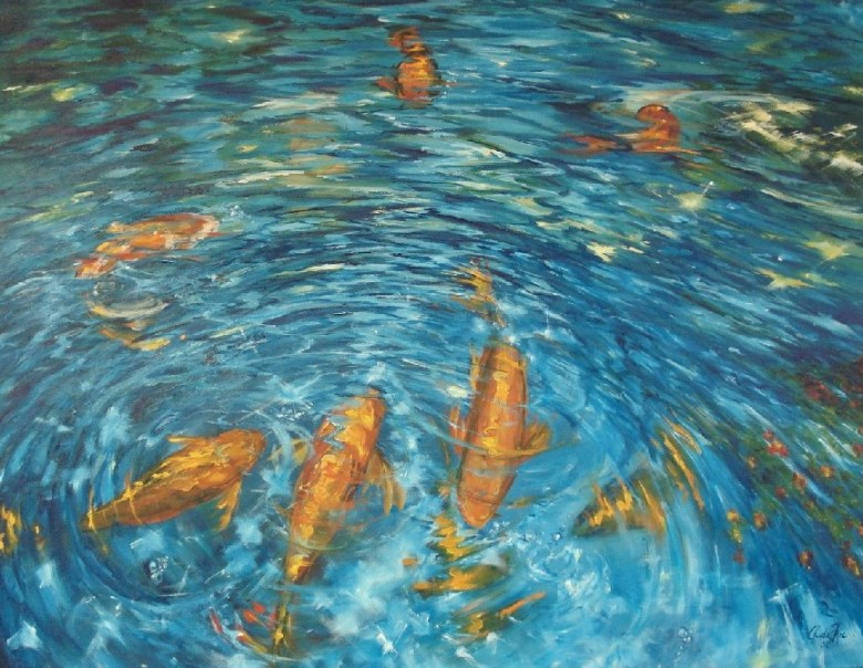 Meeting At The Pond I, olieverf op canvas, 90 x70 cm, 2008