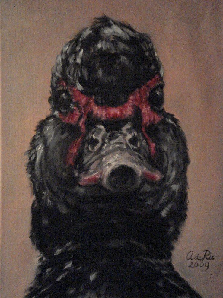 Eend, olieverf op canvas, 40 x 30 cm, 2009