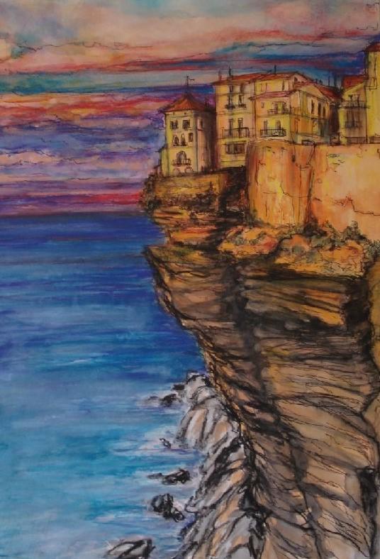 Les Murs d'Antibes, gemengde techniek, 52 x 36 cm, 2009, VERKOCHT