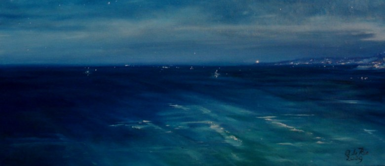 Les Étoiles de la Côte d'Azur, olieverf op canvas, 15 x 40 cm, 2009