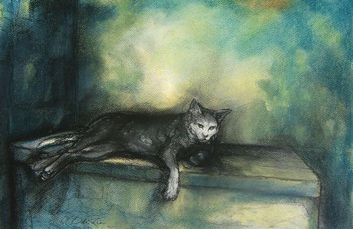 Gato (Kat) (Andalucia, Spanje), pastel & conté op canvaspapier,30 x 40 cm, 2012