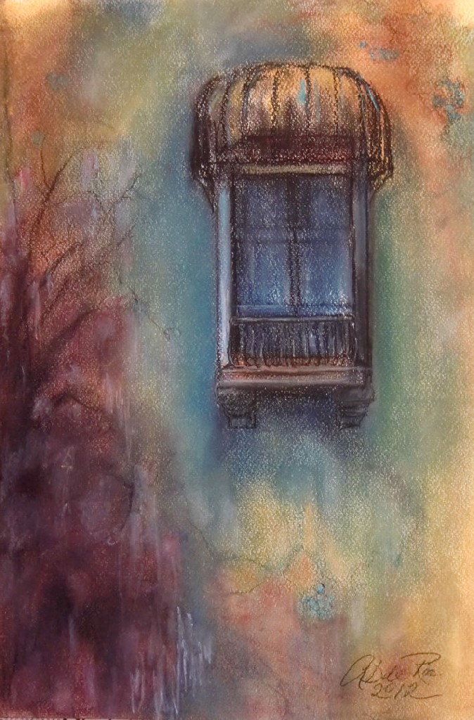 Avondlicht op Balkon met Markies (Marbella) pastel & conté op canvaspapier, 40 x 30 cm, 2012