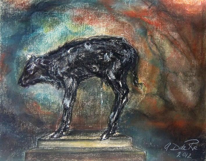 Ternero del Toro (Andalucia, Spanje), pastel & conté op canvaspapier, 30 x 25 cm, 2012