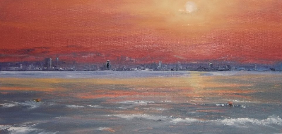 Sun Rise, olieverf op canvas, 30 x 20 cm, 2010