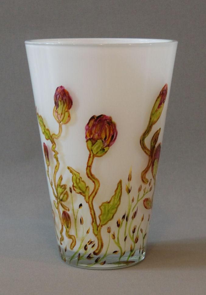 Vaas 'Magnolia', gebrandschilderd glas, 25 x 15 cm, 2013