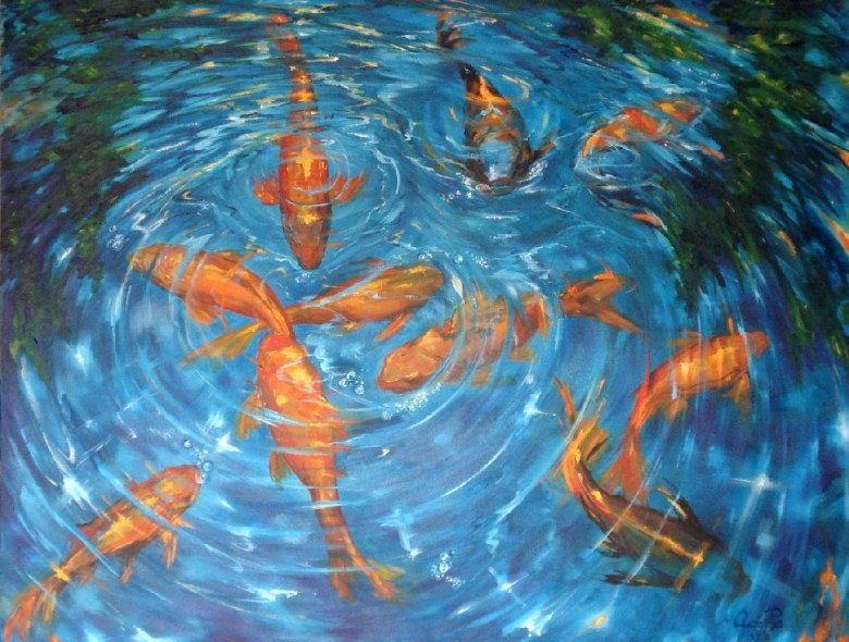 Meeting At The Pond II, olieverf op canvas, 90 x 70 cm, 2008