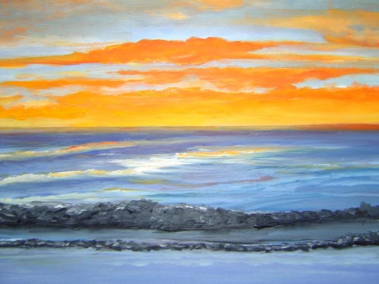 Zonsondergang in Zeeland, olieverf op canvas, 30 x 24 cm, 2004, VERKOCHT