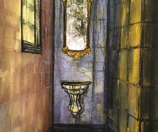 Doorkijkje Nis Landhuis (Zuid-Spanje), pastelkrijt (kleurecht en UV bestendig) op ingres papier, 45 cm x 30 cm, 2014