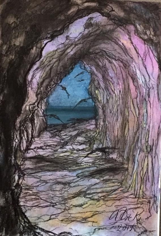 VogelVlucht in Grot Spaanse Kust (Zuid-Spanje), pastelkrijt (kleurecht en UV bestendig) op ingres papier, 45 cm x 30 cm, 2015