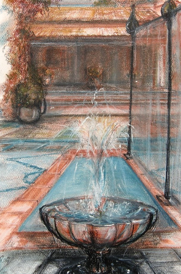 Haciënda Marbella (Spanje), pastel & conté op canvaspapier, 40 x 30 cm, 2011, VERKOCHT
