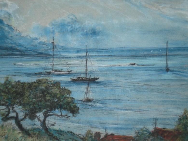 Cap Ferrat (vanaf Antibes, France), Gemengde techniek, 24 x 32 cm, 2008, VERKOCHT