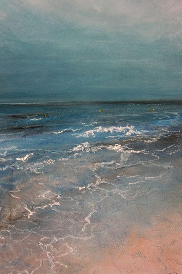 Stil Strand (Marbella), pastel en conté op canvaspapier, 45,5 x 30,5 cm, 2013