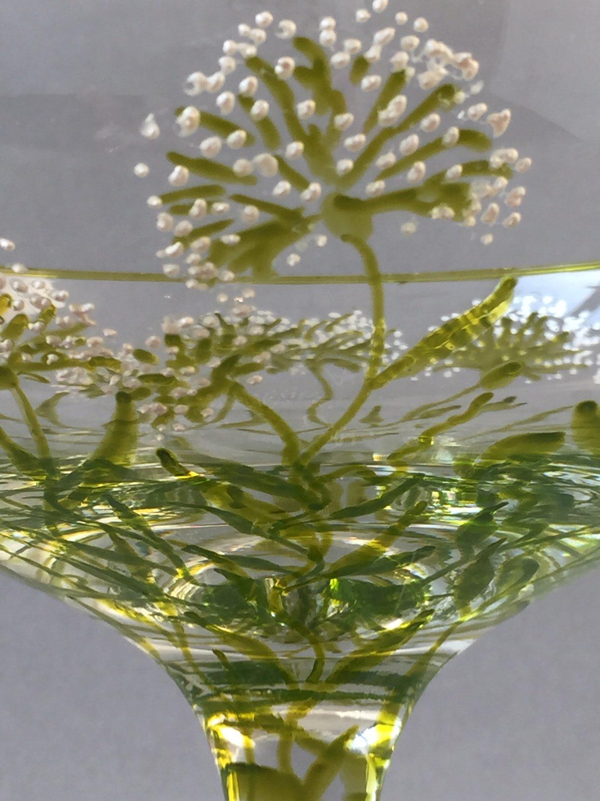 Schaal op Voet 'Emerald', Gebrandschilderd Glas, 13 x 19 cm, 2019