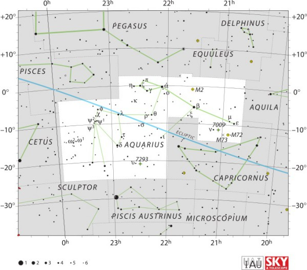 Aquarius constellation map. Image credit: IAU and Sky & Telescope magazine. License: CC BY 3.0.