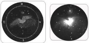 M42, prin luneta de 110mm (stanga), si o imagine luata cu o camera CCD (dreapta)