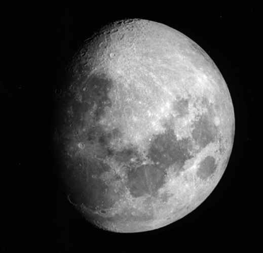 The moon entering its gibbous or hua phase