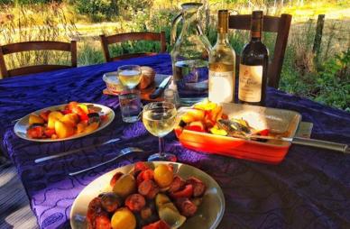 Dinner under the horse chestnut tree