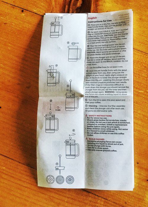French Press Instructions