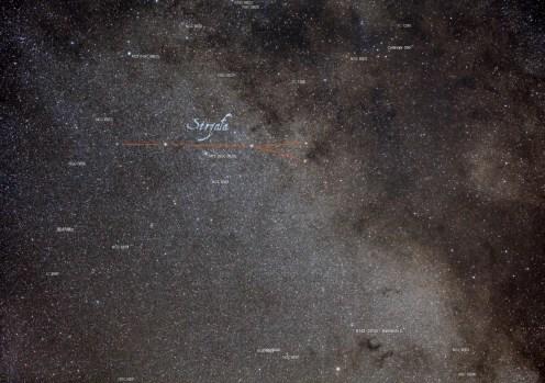 Droga Mleczan obejmująca gwiazdozbiory Strzała, część Liska oraz część Orła.