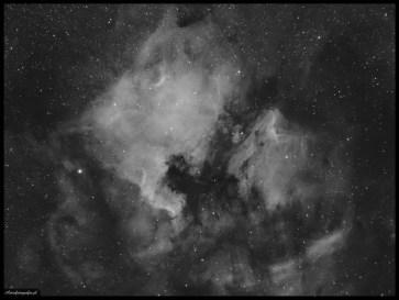 """Obiektyw Sonnar MC 135/3,5 @f:4,5, SBIG ST2000XM - 5x900s Ha (Astrodon 6nm), montaż Takahashi EM200. Mgławica Ameryka Północna to kolejny """"nieśmiertelny"""" obiekt, którego zdjęcia goszczą w kazdej galerii astrofotografa. Przepiękny i jasny obiekt pełen draperii, ciemnych obszarów pyłowych jak i obszarów narodzin młodych gwiazd. Dostępny od wiosny praktycznie do połowy jesieni, umożliwia zapolowanie na niego zarówno używając krótkich ogniskowych jak i skupiając się na wielu detalach przy zastosowaniu tych rzędu 1000mm i więcej. Obszar przepięknie prezentuje się przy fotografowaniu go przy użyciu filtrów wąskopasmowych Ha. Cały obszar prezentowany na zdjęciu składa się łącznie z kilku wydzielonych mgławic cała lewa strona przypominająca kształtem Amerykę północną to NGC7000, prawa strona nazywana potocznie mgławica Pelikat składa się z trzech mgławic IC 5067, IC 5068 oraz IC 5070."""