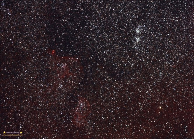 LBN 667 IC 1805 w zestawie z NGC 884, 869 EF100/2,8 @ f:4 11x5' ISO800,montaż Vixen GPD2.