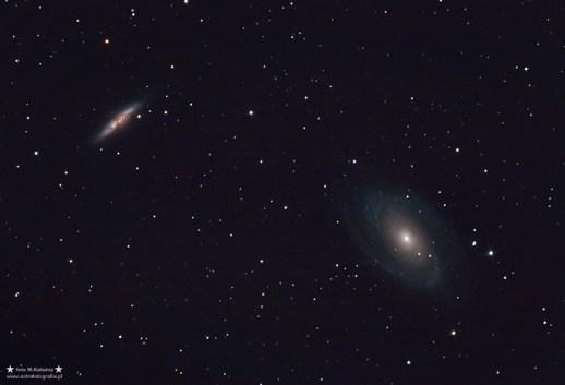 """M81 - M82. Teleskop C6N (Newton 150/750) + MPCC - ISO800/1600 31x120 sekund, montaż Vixen GPD2. Pierwsze zdjęcie zrobione z wykorzystaniem korektora komy Baader MPCC - korektor jak się okazało sprawuje się doskonale. W przypadku C6N wymagał początkowo przeróbki wyciągu - a ostatecznie wymiany na 2""""."""