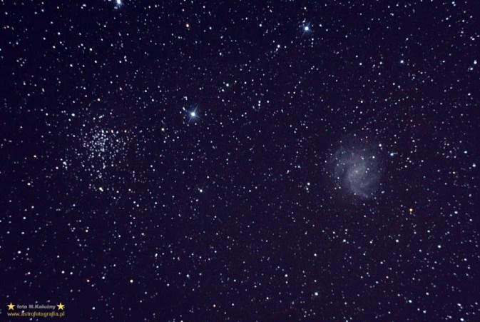 NGC6946 oraz 6939. Teleskop C6N (Newton 150/750) - ISO1600 27x120 sekund, montaż Vixen GPD2. NGC 6946 oraz NGC 6939 (open cluster) wstęp do zabaw w ognisku głównym C6N ze słabszymi obiektami - no i tu niestety wychodzi już koma z Newtonka (korektor komy był w drodze)