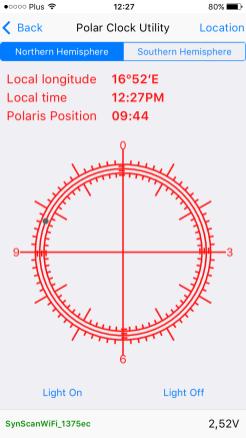 Bardzo pomocny kalkulator do ustawiania lunetki Polarnej (po wyrównaniu, umieszczamy Polaris w zaznaczonym na ekranie miejscu)