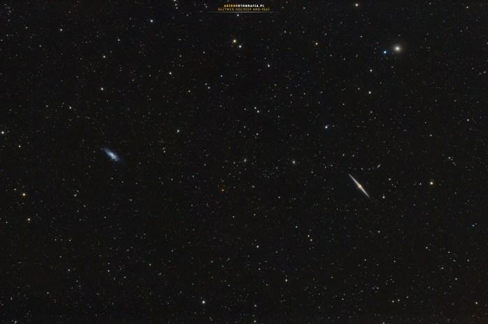 Galaktyki NGC 4559 - NGC 4565. Takahashi FSQ106N + Nikon D810A. 35x240s Iso 1600