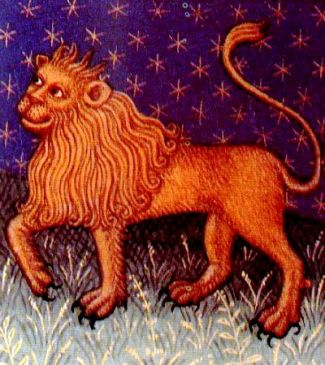 Leo, ilustración de un libro de astrología medieval, siglo XV, autor desconocido