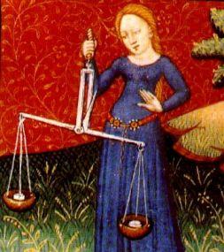 Libra, ilustración de un libro de astrología medieval, siglo XV, autor desconocido
