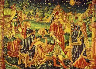 Astrólogos-Astrónomos, L'Astronomie,(La Astronomía) tapiz que se presume francés del siglo XVI aproximádamente, pertenece al Röhsska