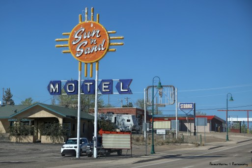 Old motels and neon signs