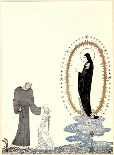 Mercury Station, the Sun Station, the Moon Station: Three characters, a priest in gray, a girl in white, and Virgin Mary in black are facing each other.