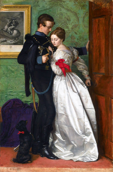 Saturn in Aries and Libra: A soldier in black uniform is about to leave, but a girl in white is gently stopping him.