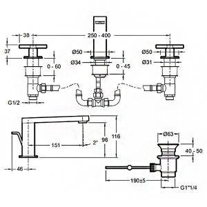 Смеситель для раковины E73060-3-CP COMPOSED Jacob Delafon