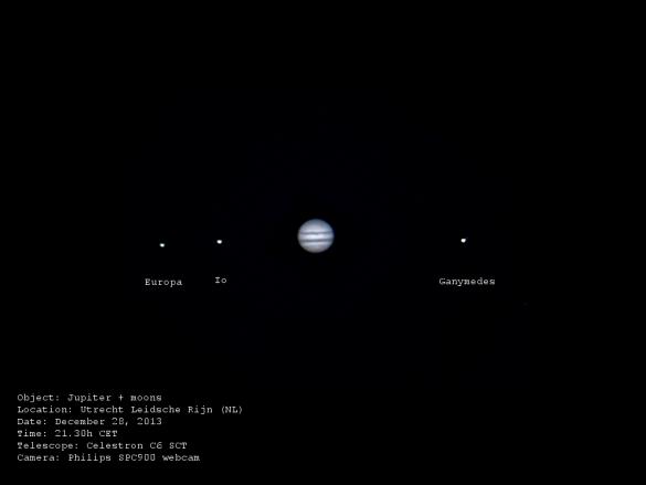 Jupiter met 3 maantjes.