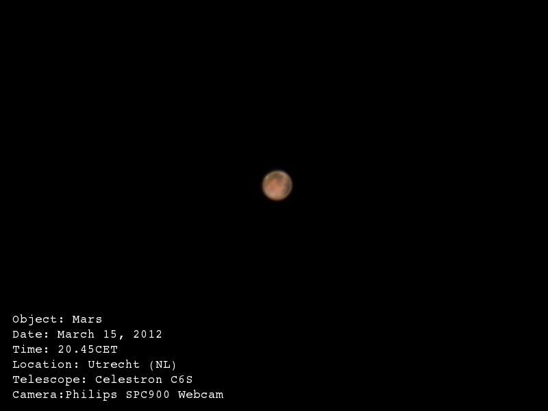 Planeet Mars gefotografeerd door een telescoop