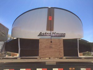 Dome arrives on flatbed truck