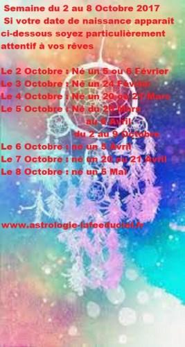 Vous et VOS rêves - Semaine du 2 au 8 Octobre 2017- en mode écriture -