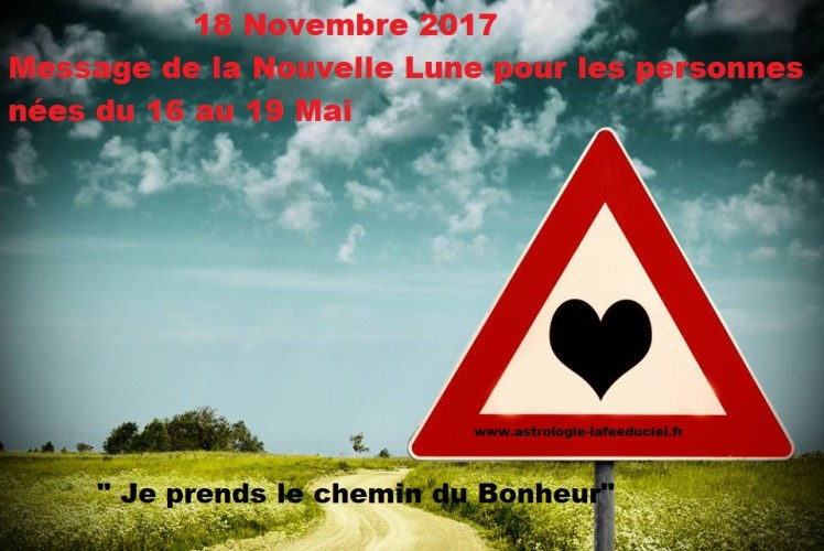 Message de la Nouvelle Lune du 18 Novembre 2017 pour les personnes nées du 16 au 19 Mai