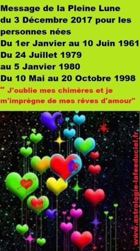 Message de la Pleine Lune du 3 Décembre pour les personnes nées  du 1er Janvier au 10 Juin 1961 du 24 Juillet 1979 au 5 Janvier 1980 du 10 Mai au 20 Octobre 1998