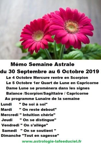 Mémo Semaine Astrale du 30 Septembre au 6 Octobre 2019