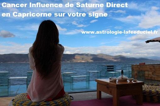 Cancer Influence de Saturne Direct en Capricorne sur votre signe