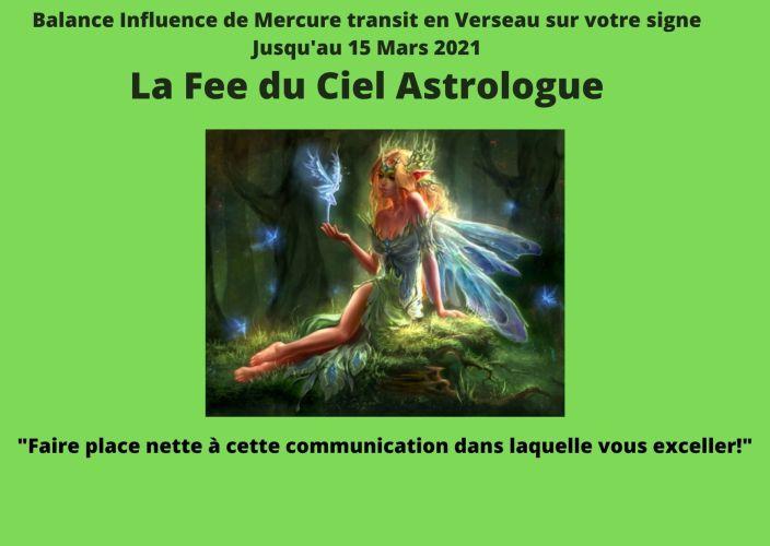 Balance Influence de Mercure transit en Verseau sur votre signe