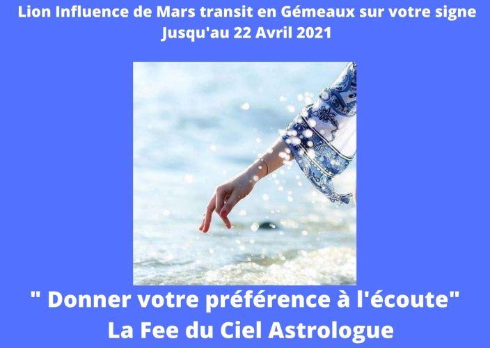 Lion Influence de Mars transit en Gémeaux sur votre signe jusqu'au 22 Avril 2021