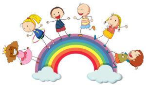 Children standing on the rainbow illustration
