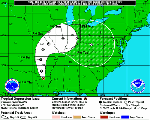 Predicted Path of Issac as of 8/31/2012
