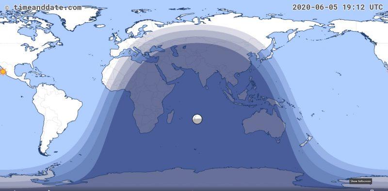 Éclipse lunaire Juin 2020 Visibilité